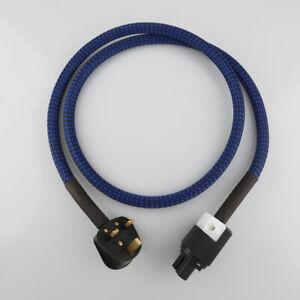 1/2/3/4m Rhodium-Plated Hi-End Hifi Audiophile Audio Power Cable UK IEC Plug
