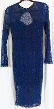 Kardashian Kollection Dress M Blue Lace Long Sleeve Knee Length Bodycon