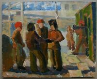 Russian Ukrainian Soviet Oil Painting realism builder worker figure genre