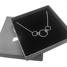 """925 Sterling Silver 16"""" inch HOOP LINK NECKLACE (womens ladies boxed gift)"""