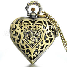 Retro Bronze Hollow Heart Locket Quartz Pocket Watch Pendant Necklace Chain Gift