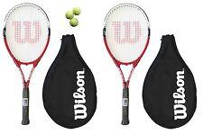 2 x Wilson Federer 110 Racchette Da Tennis + 3 Palline Da Tennis RRP £ 90