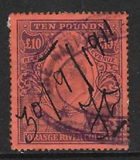 Orange River Colony 1891 KGV £10 Revenue Fine Used