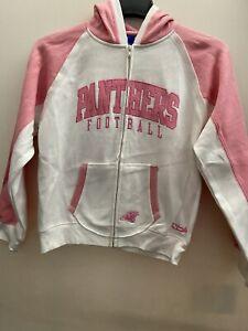 Carolina Panthers NFL Reebok Girls Pink/White Full Zip Up Jacket Large (14)