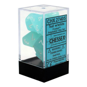 Chessex Frosted Polyhedral 7-Die Dice Set Teal & White NEW