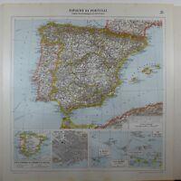 1929 ORIGINAL MAP ~ SPAIN & PORTUGAL BARCELONA CITY PLAN CANARY ISLANDS