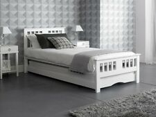 New White 3'0 Wooden Single Guest Day Bed Including trundle - Pullout frame