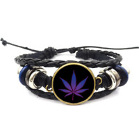 Pot Leaf Neon Glass Cabochon Bracelet Braided Leather Strap Bracelets