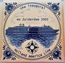 "Blue Delft Tile Holland America Line Cruise Ship Ms Zuiderdam 2002 Inaugural 6"""