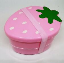 Lunch Box Bento 2 tiers Pink Strawberry Kawaii Cute Food Container From JAPAN