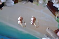 Beautiful Natural Color Rare Edison Pearl Drop Earrings on solid 14K Yellow Gold
