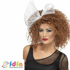 1980s BROWN SHORT CURLY WILD CHILD WIG WITH BOW ladies womens fancy dress