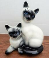 Vintage ROYAL COPLEY Two Siamese Cat Kitten Figures With Basket PLANTER - RARE!