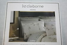 2 Liz Claiborne Lorna tan taupe EURO European Bed Pillow Sham Set cotton pol new