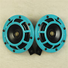 2 PCS 12V LIGHT BLUE SUPER LOUD TWO ELECTRIC BLAST TONE HORN FOR CAR MOTORCYCLE