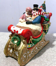 Musical Ceramic Sleigh w People & Presents *Joy To The World*