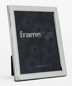 """Silver Plated Photo Frame 3.5x5"""" Picture Modern Flat Edge Single Gift Idea Boxed"""
