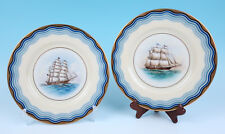 Pair Vintage Lenox Black Starr & Frost Nautical Clipper Tall Ship Plates Sailing