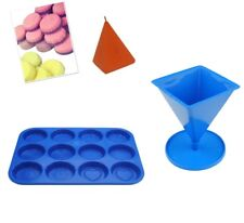 Set x 2 Pyramid Candle Mould with Base & Wax Melt Tart Tray, Swirl, Heart S7757