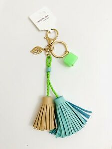 BNWT Womens Girls Bag Tassel Charm Leather Keyring Bag Charm Keychain Green Gold