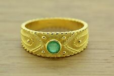 Byzantine Band Cz Ring Sterling Silver 22K Yellow Gold Plated Emerald Greek