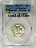 1945 P Silver Jefferson War Nickel PCGS MS 64 Mint Error Clamshell Lamination