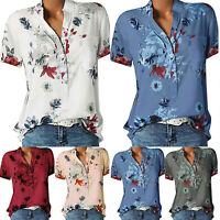 Womens Boho Floral  V Neck T-Shirt Short Sleeve Casual Loose Tunic Blouse Tops