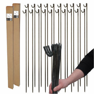 20 x STRONG METAL BARRIER FENCING PINS STAKES POSTS Builder Event Garden Project
