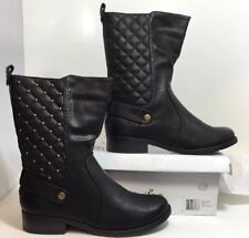 NEW 2 LIPS TOO Quilted Black Leather Boots Size 7 Gold Biker Stud Pull On Shoes