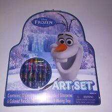 Disney Frozen Art Set Watercolors Colored Pencils Crayons Kids Gift Crafts