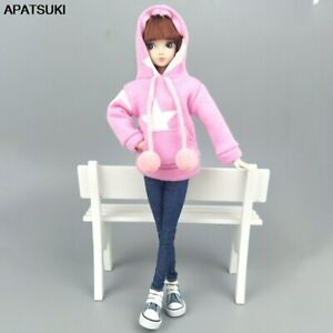 """Pink Star Sweatshirt Coat For 11.5"""" 1/6 Doll Clothes Outfits Pants Canvas Shoes"""