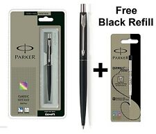 GENUINE PARKER CLASSIC MATT MATTE BLACK BALL POINT PEN CT + Free Black Refill
