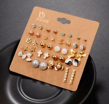 Elegant Ear Stud Rhinestone Triangle 20 Pairs girl Fashion earring Crystal  Set