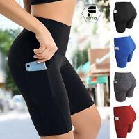 Women High Waist Yoga Shorts Pocket Gym Cycling Biker Hot Pants Sport Leggings O