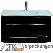 MIDORI© Badmöbel Badezimmermöbel Unterschrank Waschtisch Schwarz Hochglanz 70 cm
