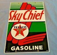 VINTAGE TEXACO SKY CHIEF GASOLINE PORCELAIN LOOK GAS MOTOR OIL PUMP SIGN