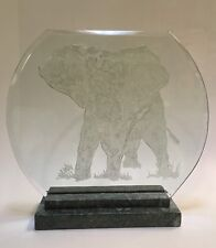 ORIGINAL ELEPHANT ONE OF A KIND HAND SANDBLASTED GLASS SCULPTURE JIANG STYLE