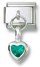 Italian Charm Dangle Birthstone Heart CZ 925 Sterling May Stainless Steel Link
