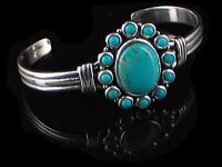 GORGEOUS Sterling Silver Blue Turquoise Cuff Bracelet