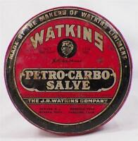 Watkins Petro Carbo Salve Tin Vintage Victorian Great Lithograph AS IS CONDITION