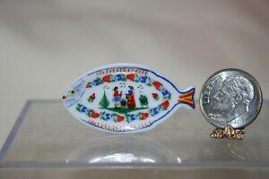 Miniature Dollhouse French Porcelain Quimper Breton Fish Plate 1:12 NR