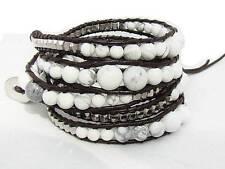 5 Wrap Bracelet  natural TURQUOISE  beads, metal beads leather  fashion bracelet