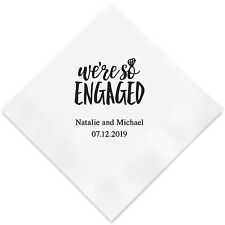 100 We're So Engaged Personalized Wedding Cocktail Napkins