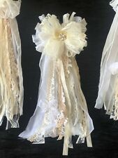 Vintage Lace Wedding Bow Shabby Chic Tassel Bow 1 Pcs