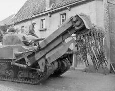 WWII B&W Photo Sherman Flail Tank US Army Germany 1945  WW2 World War Two / 3052