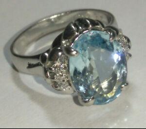Solid platinum natural aquamarine and diamond ring 6.53 grams - sz 5.75