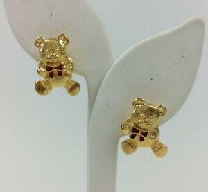 """Vintage Avon Earrings Gold Tone Teddy Bear Red Enamel Bow Pierced 1"""""""