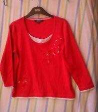 Ladies Top Debenhams Maine New England Red 100% Cotton Size 12