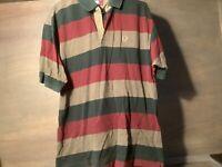 Tommy Hilfiger MENS Polo Shirt SHORT SLEEVE SIZE XL STRIPED GREEN BURGANDY GRAY
