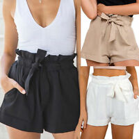 Women High Waisted Floral Casual Summer Beach Short Hot Pants Ruffle Mini Shorts